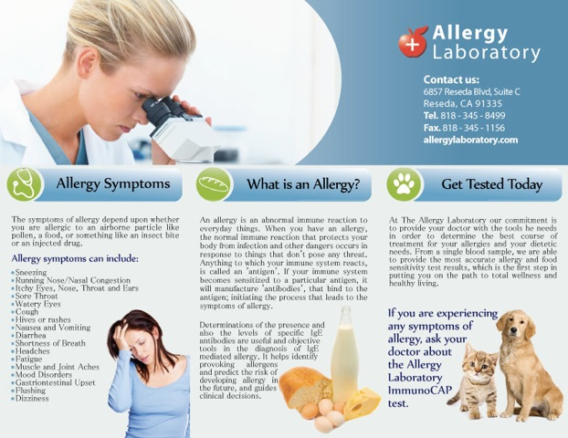 Trifold Allergy lab-back